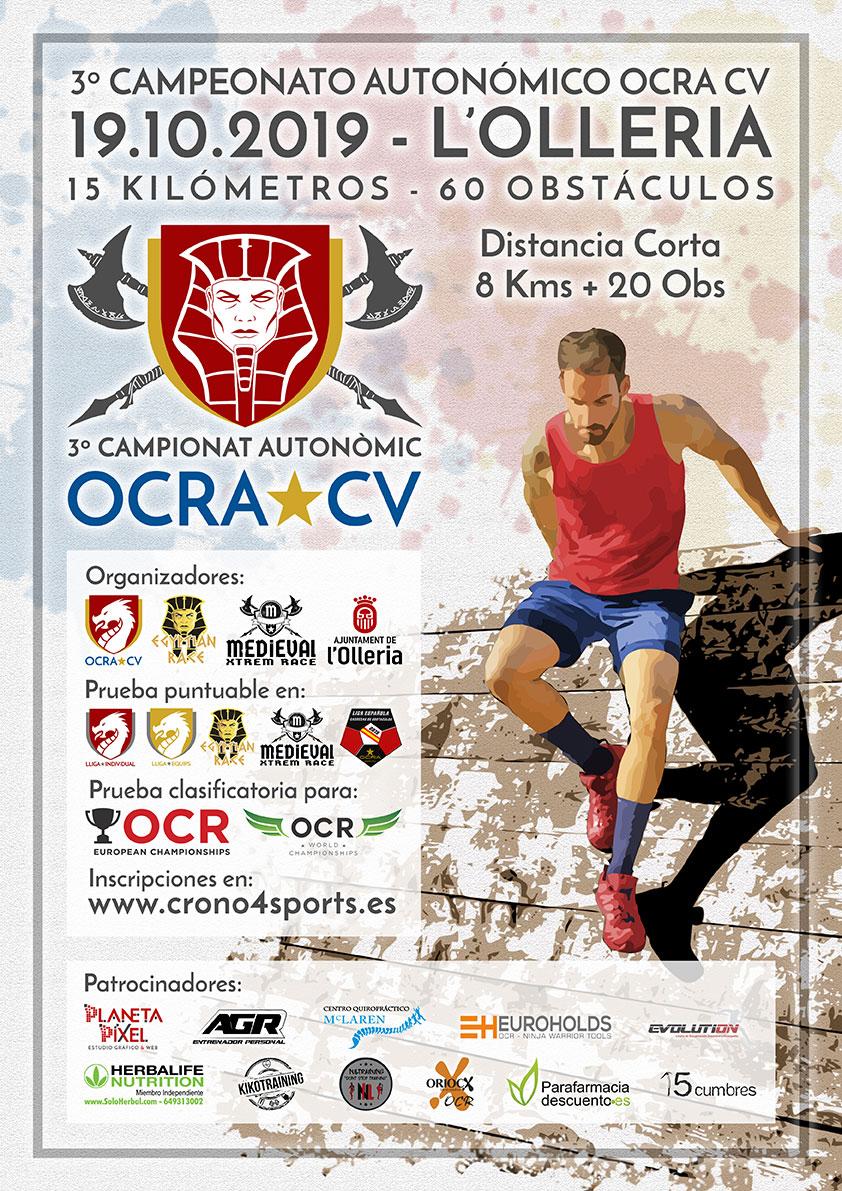 Cartel Campeonato Autonómico 2019 OCRA CV. Asociación de Carreras de Obstáculos de las Comunidad Valenciana
