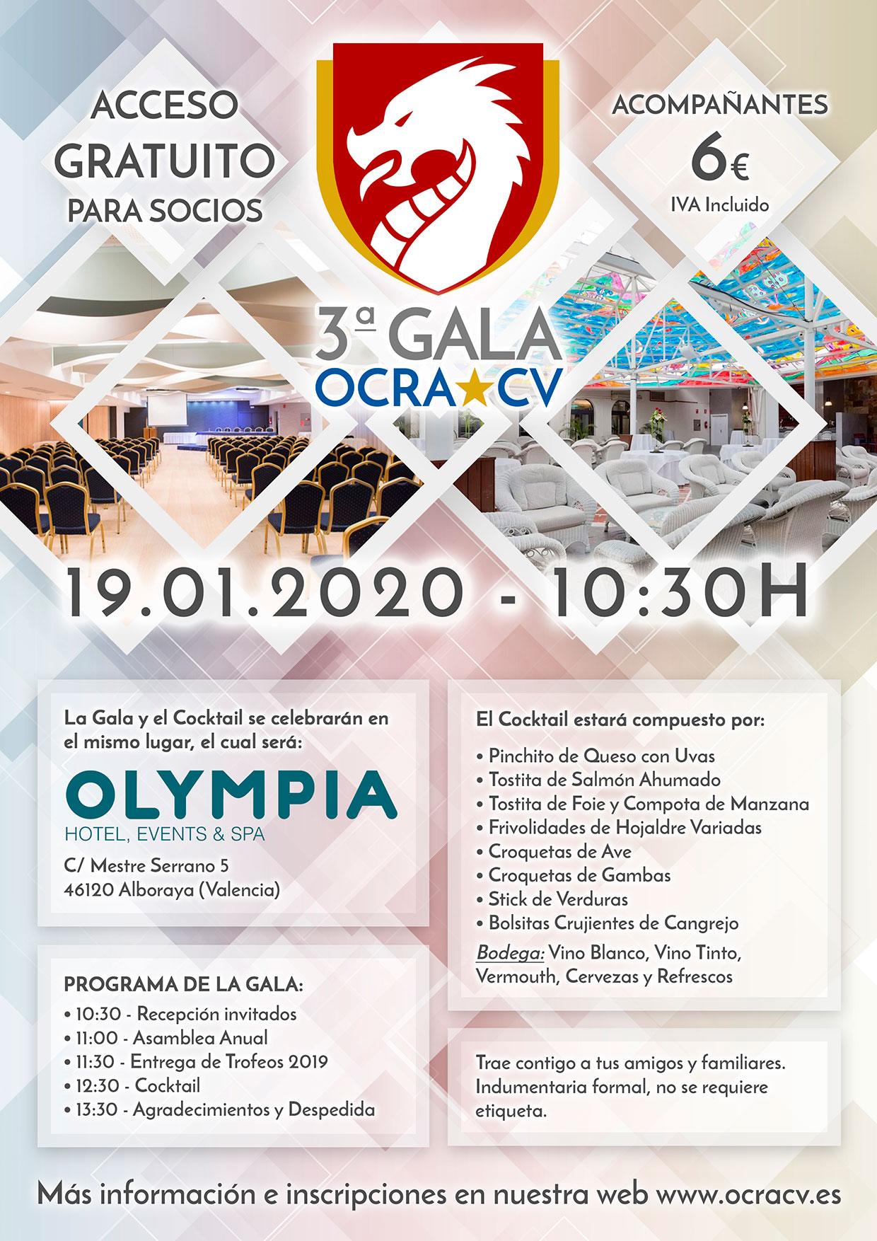Cartel Gala OCRA CV. Asociación de Carreras de Obstáculos de las Comunidad Valenciana