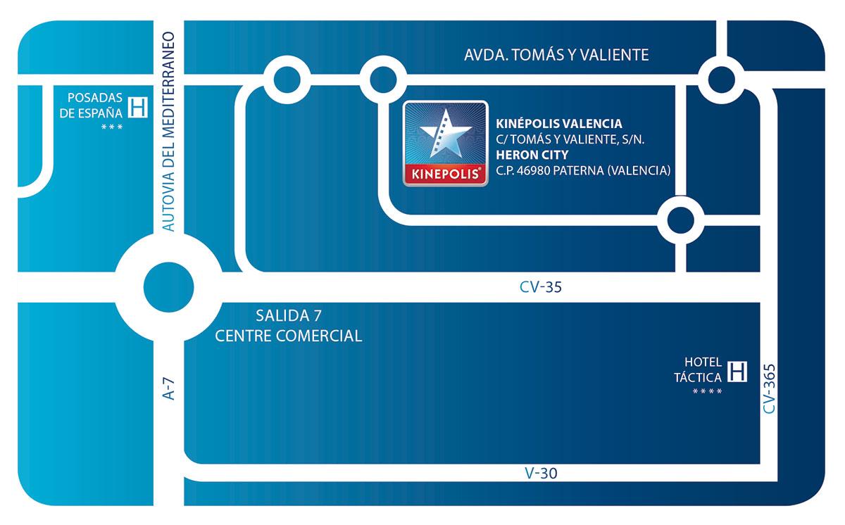 Mapa Kinepolis Valencia - 2ª Gala OCRA CV. Asociación de Carreras de Obstáculos de las Comunidad Valenciana